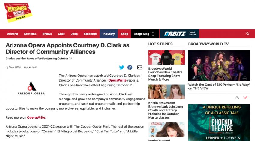 Arizona Opera Appoints Courtney D. Clark as Director of Community Alliances